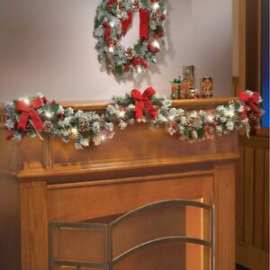 6-Ft-Lighted-Frosted-Pine-Berries-amp-Red-Bow-Festive-Christmas-Garland