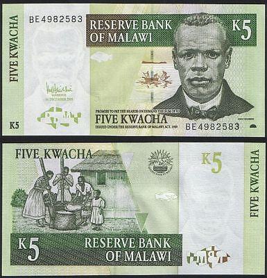 MALAWI 5 KWACHA 1997 P 36 UNC