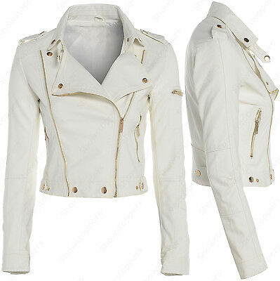 Size 8 10 12 NEW Womens BIKER JACKET Crop FAUX LEATHER Ladies ZIP White Coat