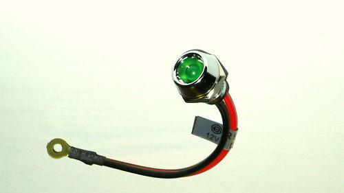 Einbaulampe grün verchromte 12V  LED Anzeigelampe