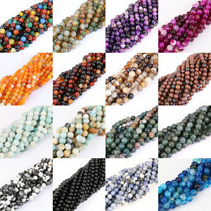 Lots-New-Round-Agate-Gem-Charming-Loose-Spacer-Beads-Jewelry-Findings-Crafts-Hot