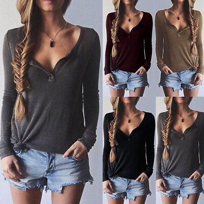 Sexy Women Ladies Casual Loose V Neck Long Sleeve Top Blouse Tee Shirt UK 8-18