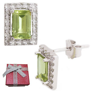 925-Sterling-Silver-Natural-1-2ct-Peridot-Stud-Earrings