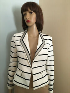 WHITE-HOUSE-BLACK-MARKET-6-P-Ivory-Black-Stripe-Princess-Seam-Knit-JACKET-TOP