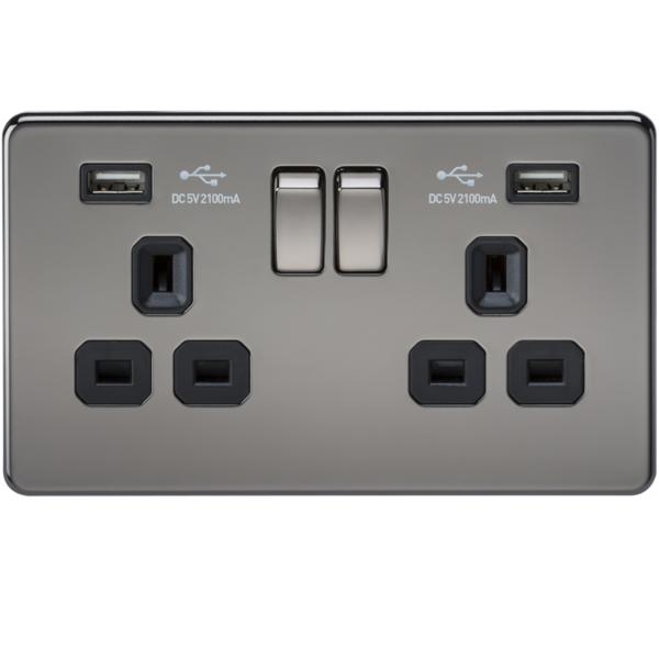 1 X Sf9902bn -13 Un 2g Commutata Socket Screwless-dual Usb Caricatore-nichel Nero