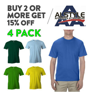 4-PACK-AAA-ALSTLE-1301-MENS-PLAIN-T-SHIRT-CASUAL-SHORT-SLEEVE-SHIRTS-COTTON-TEE