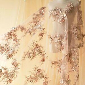 Strass-3D-Blumen-Kostuem-Spitze-Stoff-Bestickt-Perlen-Hochzeit-DIY-Tuell