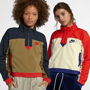 Details about Nike Women's Small Half Zip Top New Black Blue Force Orange Peel 938963 010