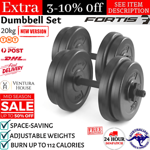 20KG Dumbbell Adjustable Weight Set Home Gym Core Fitness Space Saving Fortis AU