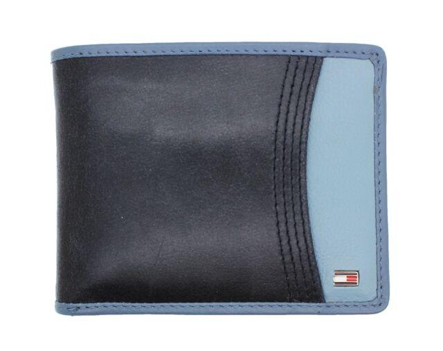 Tommy Hilfiger Men's Black/Blue Leather Credit Card ID Billfold Passcase Wallet