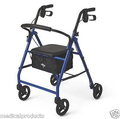 Medical Rollator Rolling Walker Curved Back Soft Pad Seat Storage Bag by Medline