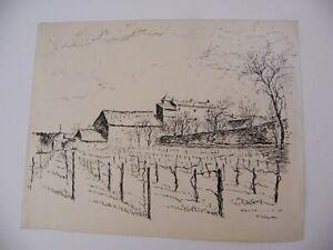 Encre-de-chine-Metz-Grigy-Andre-Simon-1926-2014-1949-Artiste-Lorrain