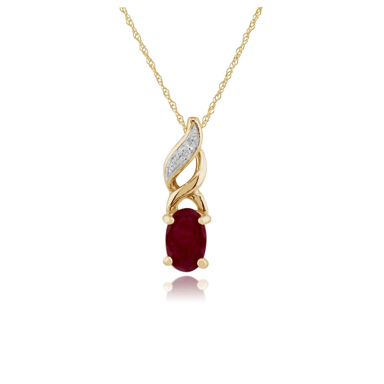 Gemondo 9ct gold yellow 0,32ct Rubi y Diamante Colgante En