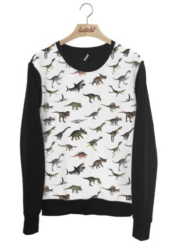 Batch1 Dinosaurier alle über Mode Aufdruck Jurassic Tiermuster Unisex Sweatshirt