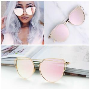 Katzenauge Sonnenbrille Damen Rosegold Verspiegelt