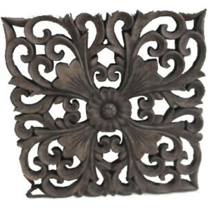 Fleur De Lis Square Cement Wall Art Hanging Screen Ornament Home