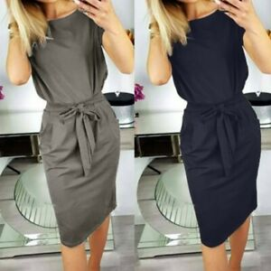 UK-Womens-Casual-Pocket-Summer-Ladies-Short-Sleeve-Evening-Party-Midi-Dress
