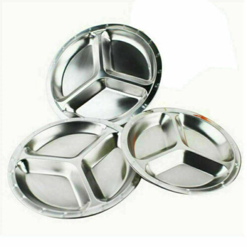 Stainless Steel 3 Sections Round Divided Dish Snack Dinner Plate 22//24//26cm Dia