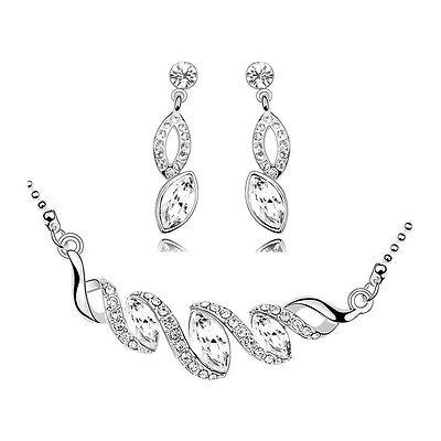 Silver & White Bridal Wedding Jewellery Set Drop Earrings & Necklace S488
