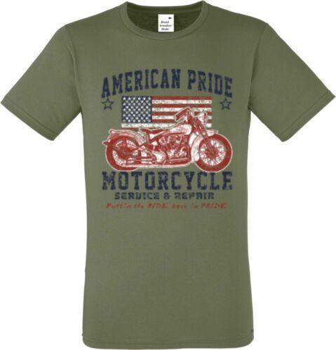 T shirt en verde oliva con un motorista- Chopper /& Old schoolmotiv modelo American Pride