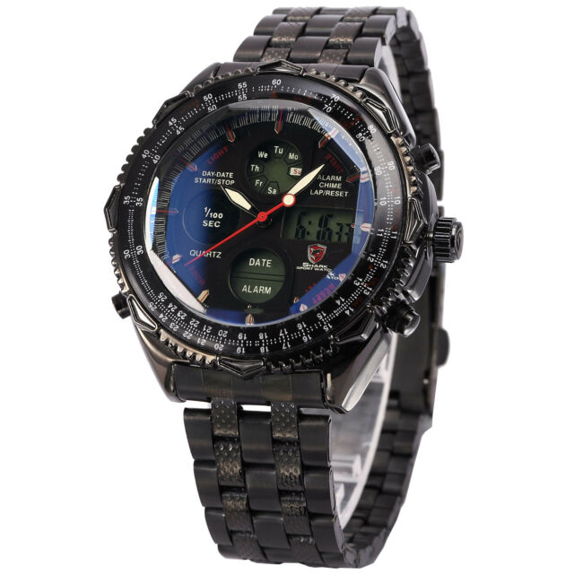 Shark Mens Digital Quartz Wrist Watch Sport Black Stainless Steel Date Day+Box