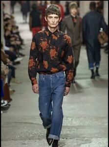 DRIES-VAN-NOTEN-EMBROIDERED-BLACK-LONG-SLEEVED-SHIRT-USE-MENS-SIZE-M-18AW-USED