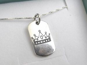 f15312e80bb9d Details about sterling silver 925 military name tag dog crown men mans  charm pendant necklace