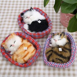 Simulation-Stuffed-Animal-Doll-Plush-Sleeping-Cats-Kitten-Sound-Cushion-Kids-Toy