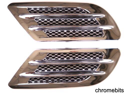 2 Seitenspiegel Air Flow Ansaugöffnung Rand Fender Grill Universal Chrom Ovp