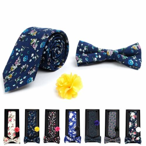 Men's Boxed Floral Cotton Slim Tie Banded Bow Tie and Lapel Pin Boutonniere SET