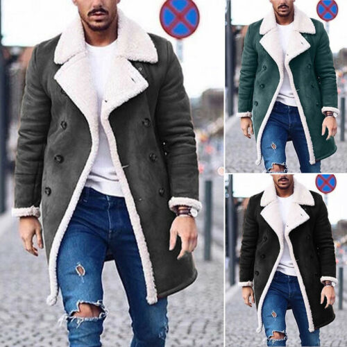 Mens Winter Warm Lapel Faux Fur Jacket Plush Overcoat Long Outwear Parka Coat