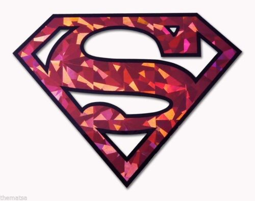 SUPERMAN RED REFLECTIVE AUTO CAR EMBLEM DECAL STICKER MADE IN USA