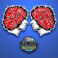 MARCO SIMONCELLI RACE YOUR LIFE STICKERS - 2x 100mm - MOTOGP *RATMALLY