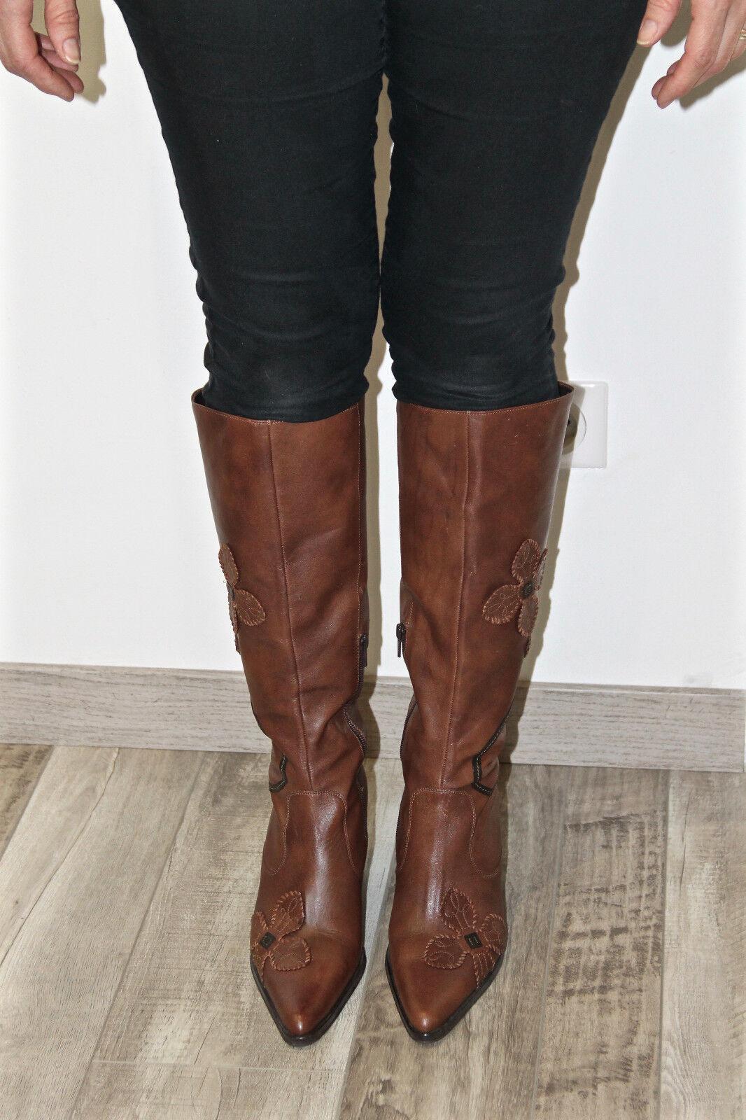 Pretty Stiefel heels 40 Braun Leder zipped BOCAGE Größe 40 heels NEW BOXED 541692