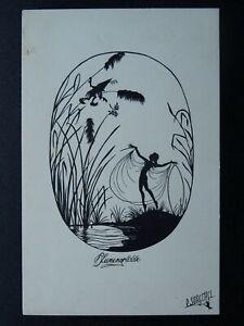 Art Deco FAIRY SILHOUETTE (2) by Artist Paul Schrempel c1919 Postcard