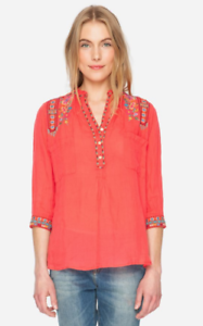 Johnny Was Malea Henley Blouse shirt top tropical coral ethnic maya gypsy ppl S