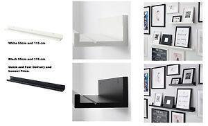 ikea mosslanda picture photo ledge rail shelf black white 55cm 115cm set new ebay. Black Bedroom Furniture Sets. Home Design Ideas