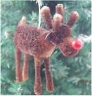 Gisela Graham Christmas Decoration - Bristle Red Nose Reindeer - Tree Decoration