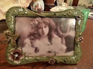 CRYSTAL-JEWELED-Green-ENAMEL-BUTTERFLY-Pansy-Picture-Frame-4-x-6-Bling