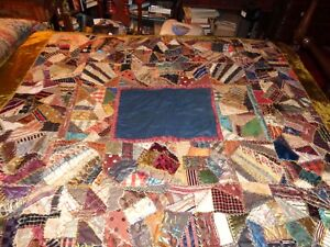 Crazy-Quilt-Hand-Tied-Antique-Victorian-Vermont-Estate-Amazing-Rare-Embroidery