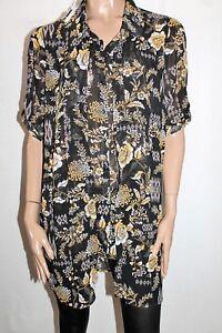KATIES-Brand-Black-Retro-Floral-Print-Chiffon-Shirt-Top-Size-18-BNWT-TM36