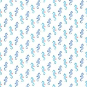 Dear Stella Pier Pressure 938 White Seahorse  Cotton Fabric  BTY