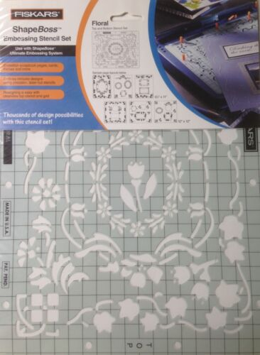 NEW Floral 5620 Fiskars ShapeBoss Embossing Stencil Set