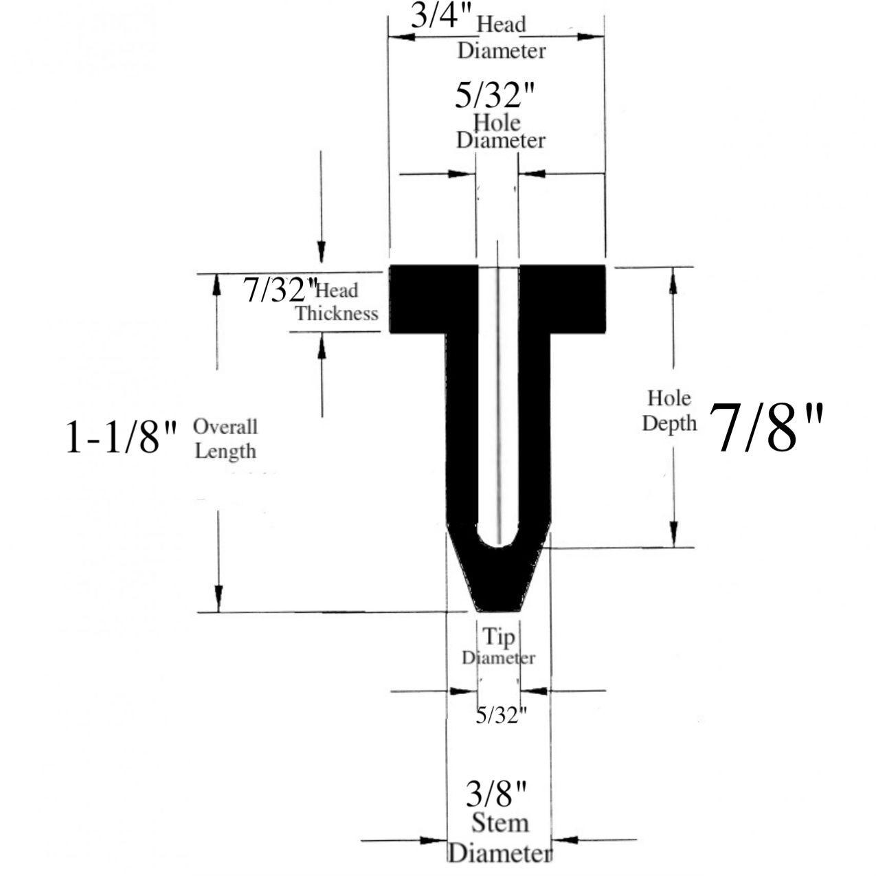 Fits 3//4 Holes 7//8 Stem Length x 3//4 Stem Diameter Lot of 25 Rubber Line Seal Plugs