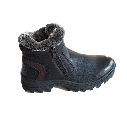 Men/'s Winter Boots Black Fur Lined Dual Side Zipper Ankle Warm Snow Shoes 7.5-13