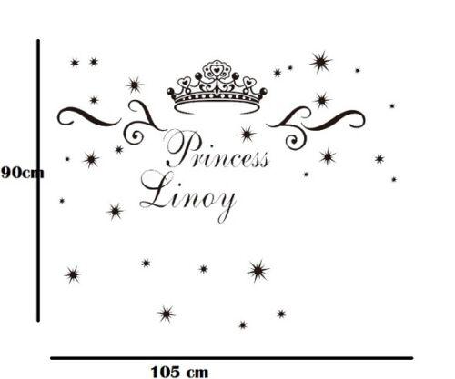Wall Stickers custom baby Name crown decal decor Nursery Vinyl home kids room