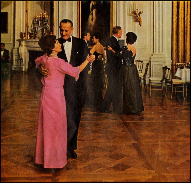 1965 print  photo, LYNDON JOHNSON & Princess Margaret Inauguration Dance -032813
