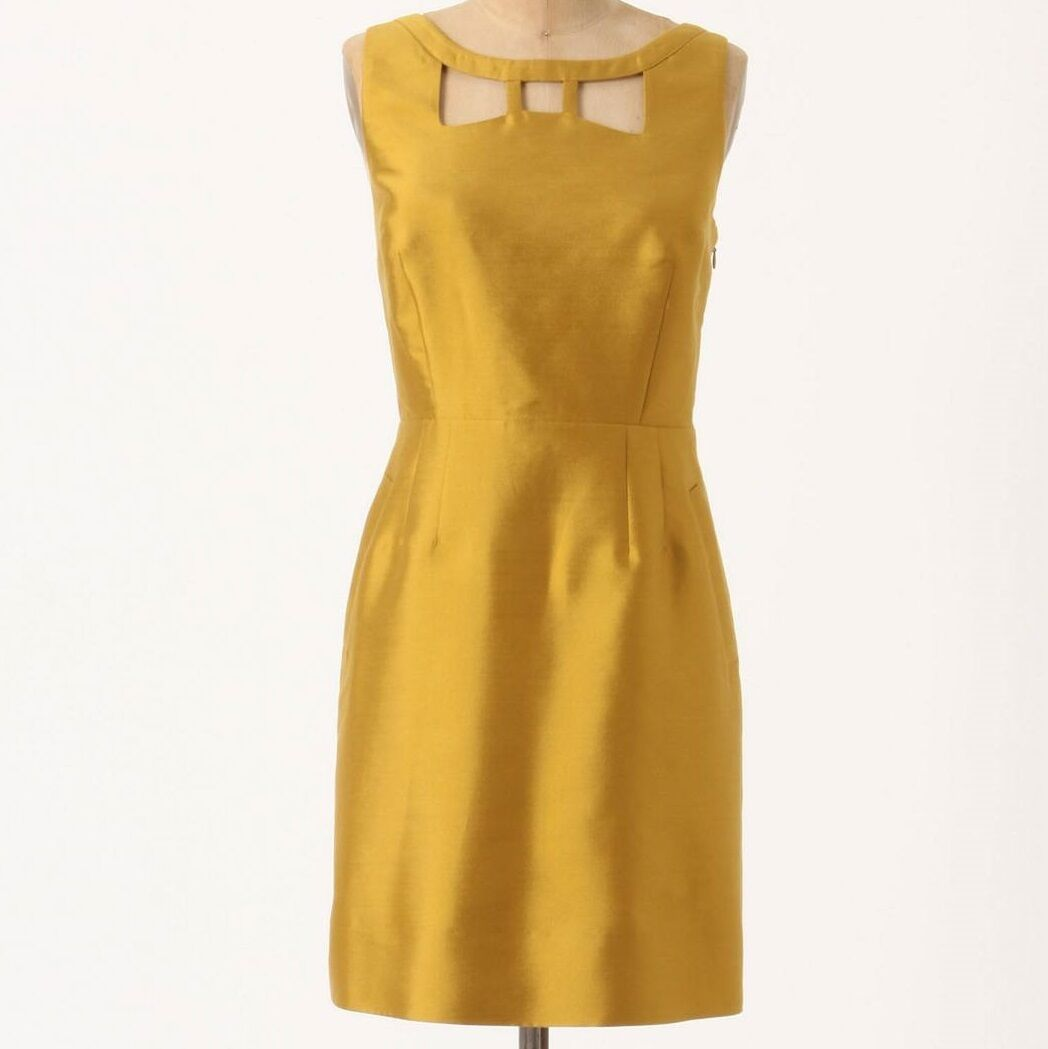 Maeve Chardameny Sheen Dress Größe 6 Gold Farbe NW ANTHROPOLOGIE Tag
