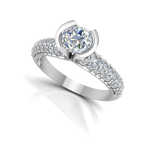 0.99 Ct Real Moissanite Diamond Ring 14K Solid White gold Engagement Rings Sale