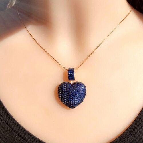 Tarcisio via cœur forme Pendentif collier avec naturel brésilien Saphirs